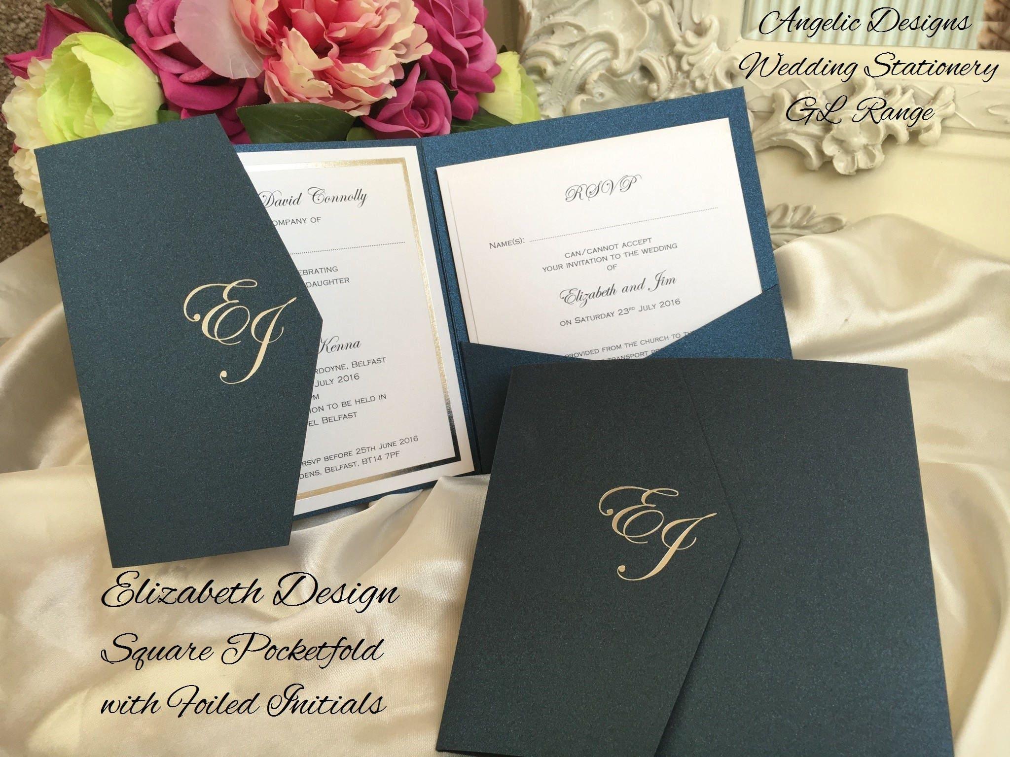 Pocketfold wedding invitation Foil Personalised Initials