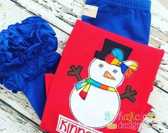 Snow Girl Applique Design - Winter Applique Design - Snowman Embroidery Design - Triple Bean Stitch Applique Design - Embroidery Design