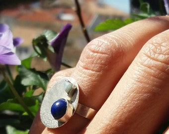 sterling silver ring.silver with texture.two natural stones.lapislazuli and amazonite.boho style.modern.minimalist.