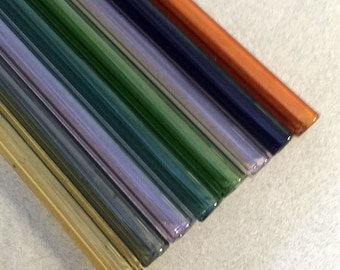"Set of Eight 10"" Drinking Straws, Hand Blown Glass, Mixed Colors, Eco Friendly and Hypoallergenic"