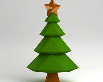 Christmas tree - 3D papercraft model. Downloadable DIY template