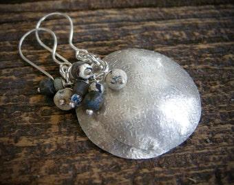ancient glass bead earrings, sterling silver hammered earrings , handmade hammered earrings, disk earrings, dangle earrings