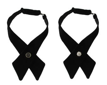 Black Satin or Velvet Adjustable Crossover Bow Tie with Diamante, Silver or Gold Edged Button