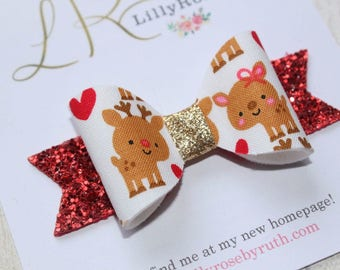Handmade Christmas Red Nose Reindeer Ruldolf Hair bow with Red and Gold Glitter
