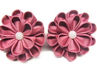 Set of hair Flower dusty pink Flower dusty rose Ponytail holders hair Elastic holder For girls ties hair For babies ties hair flower hair