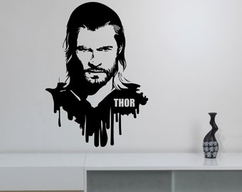 Thor Vinyl Wall Decal Removable Sticker Marvel Superhero Art Movie Decorations for Home Kids Boys Room Bedroom Playroom Avengers Decor thr5