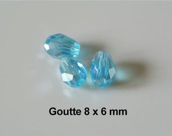 Set of 25 beads in faceted glass drop 8 x 6 mm blue azure AB, longitudinal hole 1 mm approx