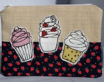 Handmade cupcake coin purse, zip pouch, handbag organiser, with strawberry print, hand sewn gifts, cupcake print, cupcake gifts