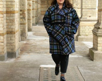 Womens Line Blue Checkered Curve Coat