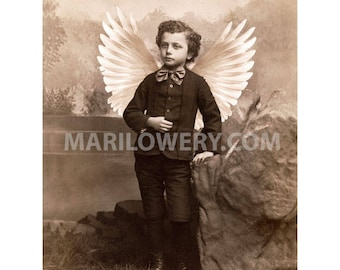 Victorian Boy with White Angel Wings Art Print, Unusual Wall Decor 8.5 x 11 Inch Sepia Collage Art Print, Holiday Decor, frighten
