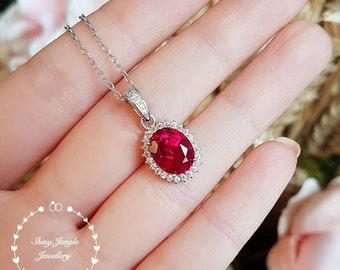 Halo Ruby necklace, Halo Ruby pendant, July birthstone pendant, halo cluster design, white gold plated sterling silver, oval cut, lab stone