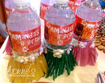 Hawaiian Luau Water Bottle Wrappers-Luau/Tropical Party-Destination Wedding-Bridal Shower-Birthday-SKIRT NOT INCLUDED-Set of 12
