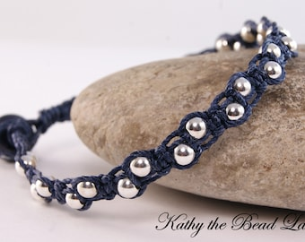 Macrame Bracelet -Dark Blue with Sterling Silver Beads and Lampwork Beads Macrame Bracelet - KTBL