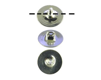 12 - 1 Dozen Silver Plated 6mm Glueable Button Backs Shanks.  DIY Make a button out of almost anything