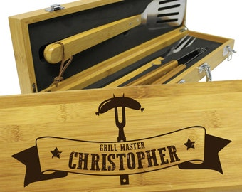 Grill Accessories, Barbecue Grill Tools, Personalized Grill Set, BBQ Set, Grill Tools,  Grilling Gifts for Him, Dad Gifts, Grill Master