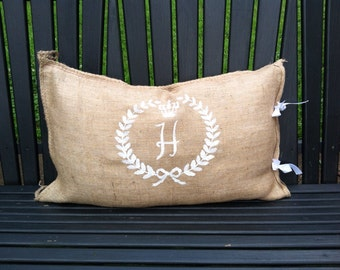 Burlap bag pillow cover with wreath & initial included