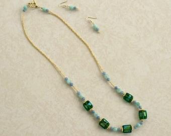 Amazonite Illumination Earring and Necklace Set JENSet00446