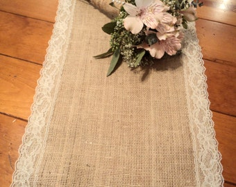 "Set of 12 Burlap and Lace Table Runners 12"" wide Rustic Wedding Decor Reception Table Settings"