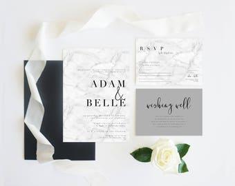 Black White Grey Marble   Wedding Event Invitation Suite   Printable Digital File Printed Invite Invitations Stationery