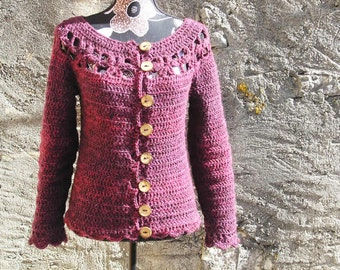 Floralie  - CROCHET PATTERN for ladies cardigan size XS to 3XL – Plus size