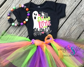 SHIPS NEXT DAY!!! I'm Daddy's little ghoul Halloween Tutu Outfit with Necklace, Baby Halloween Costume HAL02