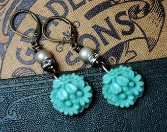 Vintage Teal Flower, Pearl and Rhinestone Earrings