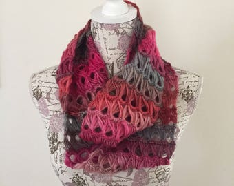 Ready to ship Broomstick Lace Infinity Scarf in pink ombre