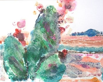 "Cactus  original watermedia monoprint Green turquoise salmon rust earth monoprint  Texas  ""Prickly Pear "" nature earthy abstract OOAK"