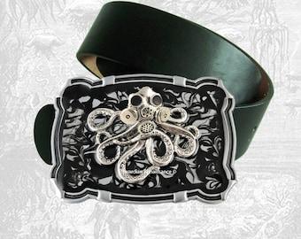 Poulpe avec masque à gaz grande boucle de ceinture incrustée dans la main peint émail victorienne industriel inspiré boucle couleur Option personnalisée