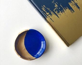 BLUE CRESCENT // Handmade Polymer Clay Jewelry Dish, Ring Dish, Trinket Dish