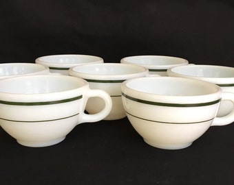 Vintage PYREX cups (7) green and white, 701-35, Mid Century PYREX
