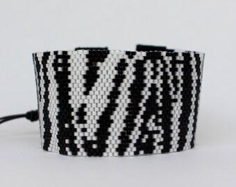 Beaded Cuff Bracelet Zebra Print