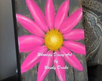 Fuchsia Daisy Home Decor, Fuchsia Floral Bathroom Decor, Gray Bathroom Decor,  Gray Home