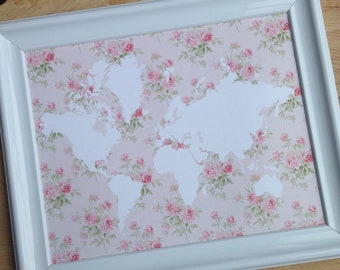 Shabby chic, Victorian floral wallpaper, world map art print, digital, printable file, nursery, playroom, kids' bedroom, wall decor, white