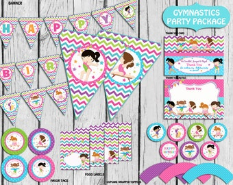 Gymnastic Party Package, Instant Download, Gymnastic Birthday Party,Gymnastic Party Supplies,Banner,sign  PRINTABLE DIY