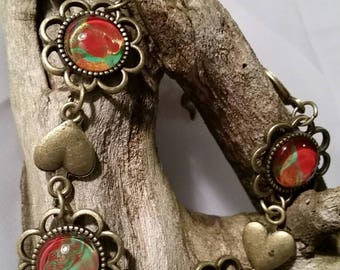 Bold Heart Cabochon Bracelet with Red and Turquoise