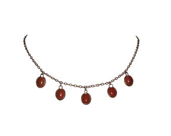 14 kt Rose Gold Filled Red Coral Cabochon Drop Pendant Necklace