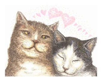 Sweetheart Cats Valentine giclee reproduction print