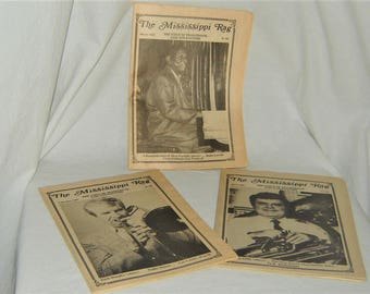 FREE SHIPPING USA - Vintage Jazz Newspapers, The Mississippi Rag, 3 Issues, Feb March April 1987, Featuring Turk Murphy, Alton Purnell.