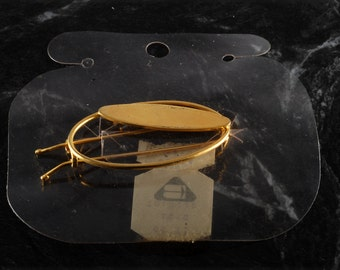 Vintage Hair Barrette Oval wire Clasp Gold Tone Metal Hair Accessory