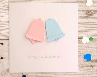 Greetings Card - Wedding Bells - origami bells marriage, wedding, civil partnership, enagagment
