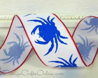 "Wired Ribbon, 1 1/2"", Blue Crab Print on White, Red Edge - TWENTY FIVE YARD Roll, Offray - Summer, July 4th, Nautical, Wire Edged Ribbon"