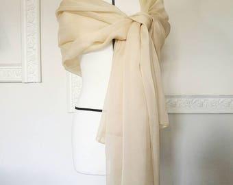 BRIDAL COVER UP, ivory bridal shawl, white bridal shrug, silk wedding shawl, ivory silk scarf, sheer wedding stole, champagne bridal bolero