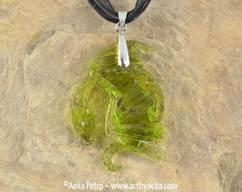Faux Green Amber Dragon Egg Relief Necklace - In Stock and Ready to Ship