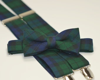 Men's Bow Tie and Suspender Set - Blackwatch Plaid - Navy and Green Tartan