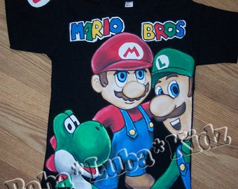 Ma-R-i0 Br0-ther shirt boys Boutique custom painted 12 18 24 2 3 4 5 6 8 10