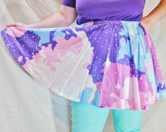 Pastel Pixel Galaxy Skater Skirt