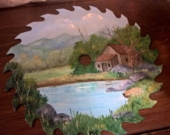 Vintage Saw Blade Hand Painted Pond Scene.