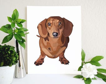 Red Dachshund Art Print, Doxie Art, Dachshund Decor, Doxie Decor, Dog Art, Dachshund, Wiener Dog, Dog Wall Art, Dog Lover Gift, Dog Decor