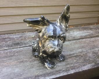 Vintage Scottie Figurine - Scottish Terrier Statue - Hand Painted Scottie - Black Scottie